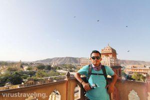 Jantar Mantar and Nahargarh Fort from Hawa Mahal